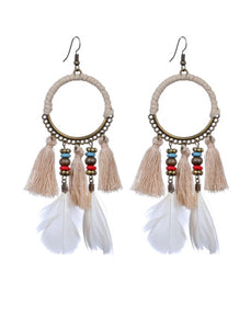 Taupe Feather & Tassel Earrings