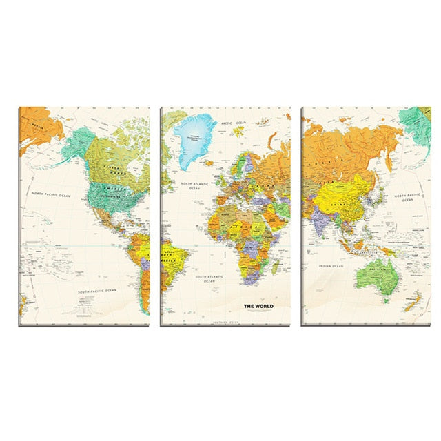 3 Panel World Map Canvas Wall Art