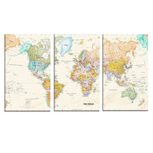 Load image into Gallery viewer, 3 Panel World Map Canvas Wall Art