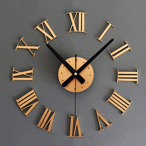 Practical DIY Luxury 3D Roman numerals Wall Clock Large Size Home Decoration Art Clock HOT (color:gold) - YellowElement
