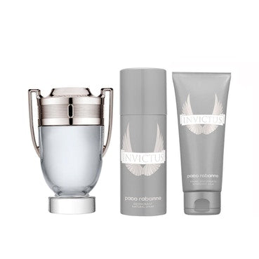 Invictus 100ml EDT Mens Aftershave Gift Set With 100ml Balm and 100ml Shampoo