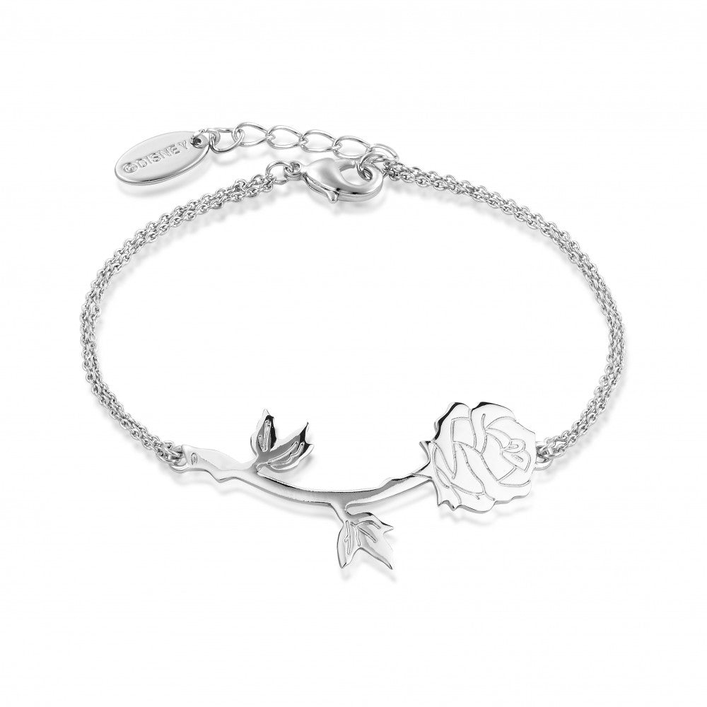 Disney Beauty & the Beast White Gold-Plated Enchanted Rose Bracelet