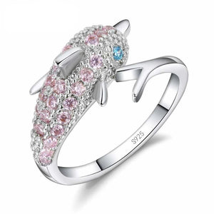 Austrian Crystal Sterling Dolphin Ring