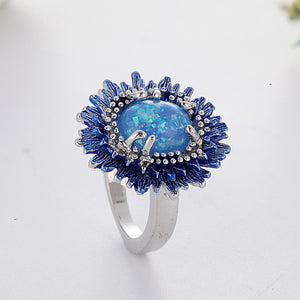 Blue Fire Opal Stone Cocktail Ring