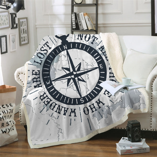 Nautical Compass Sherpa Blanket