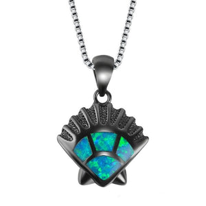 "Blue Fire ""Dusk"" Scallop Shell Necklace"