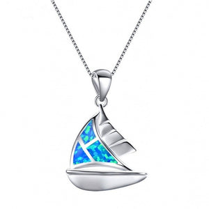 Blue Fire Sailboat Necklace