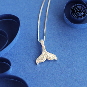 Etched Mermaid Tail Sterling Necklace