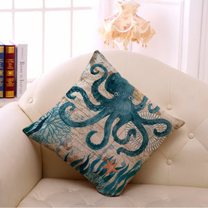 Marine Life Linen Cushion Covers