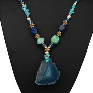 Boho Stone Ocean Drop Necklace