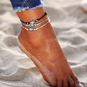 Handmade Sea Turtle Rope Anklet Trio