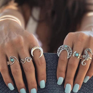 docona Bohemian Silver Moon Sea Horse Finger Ring Set for Women Green Rhinestone Hollow Wave Knuckle Midi Rings 6pcs/1set 4023