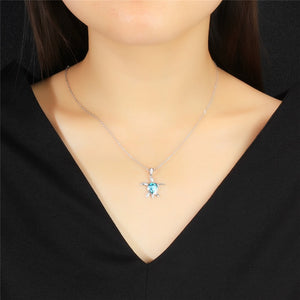 Blue Fire Sterling Silver Sea Turtle Necklace