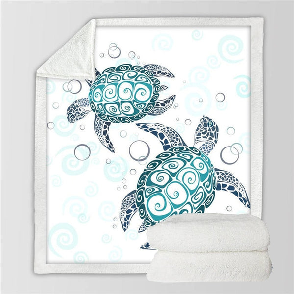 BeddingOutlet Turtles Sherpa Blanket for Kids Adults Tortoise Soft Plush Throw Blanket Sofa Blue Green Marine Animal Thin Quilt