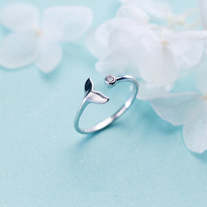 Crystal Whale Tail Sterling Ring