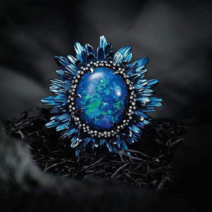 """Ocean Flame"" Stone Cocktail Ring"
