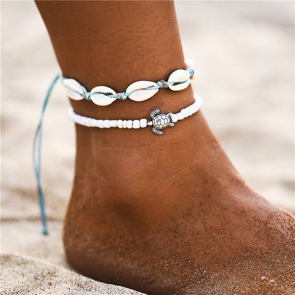 White Cowrie Turtle Anklet Set