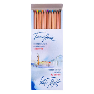 "Set of 12 watercolor pencils ""White Nights"", cardboard box"