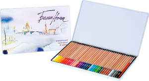 "Set of 36 watercolor pencils ""White Nights"" with a brush in a metal box"
