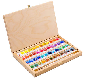 "Watercolor set ""white nights"" 48 colours full pans set in birch box with squirrel brush"