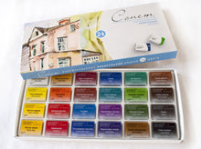 "Load image into Gallery viewer, Watercolor set ""sonnet"" 24 colours full pans set carton box"