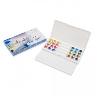 "Watercolor set ""white nights"" 24 colours full pans set plastic box"