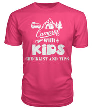 "Load image into Gallery viewer, ""Camping with Kids Checklist and Tips ""- Premium Unisex Tee"
