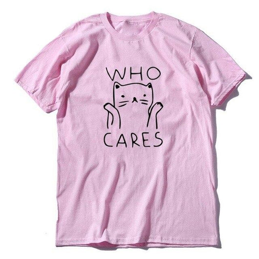 t-shirt rose funny cat chat who cares