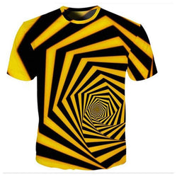 Spiral Geometric Graphics 3D Printed T Shirts