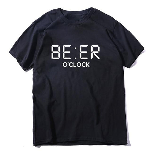 fun t-shirt black unisex Beer o' clock
