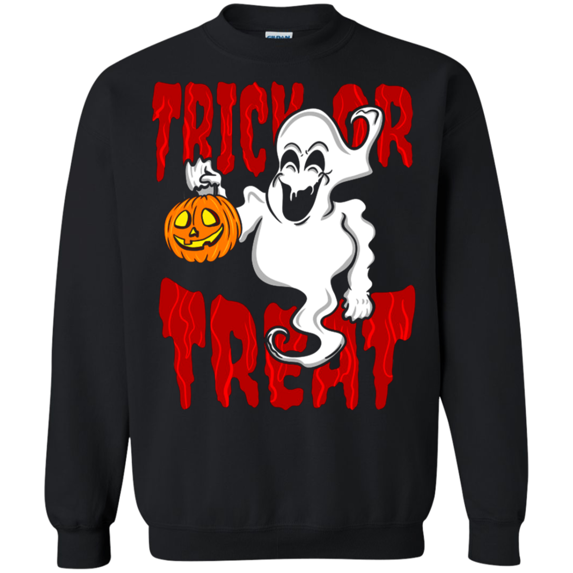 Ghost Trick Or Treat Halloween G180 Crewneck Pullover 8 Oz T Shirt