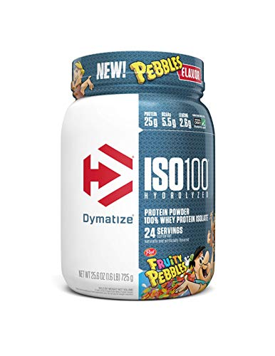 Dymatize ISO100 Hydrolyzed Protein Powder, 100% Whey Isolate Protein, 25g of Protein, 5.5g BCAAs, Gluten Free, Fast Absorbing, Easy Digesting, 1.6 Pound