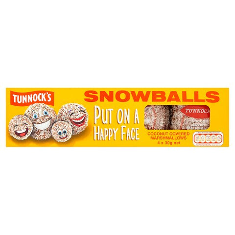 Tunnock's Snowballs Coconut Covered Marshmallows Morbido Snack Al Marshmallow E Cocco 4x30g