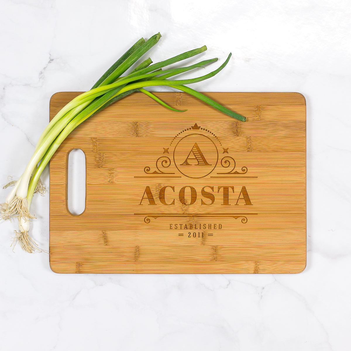 "Acosta - Personalized Bamboo Cutting Board with Handle 13.75"" x 9.75"""