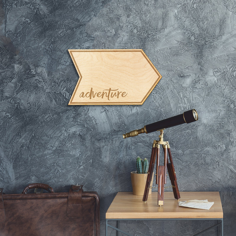 Adventure Arrow Wood Sign