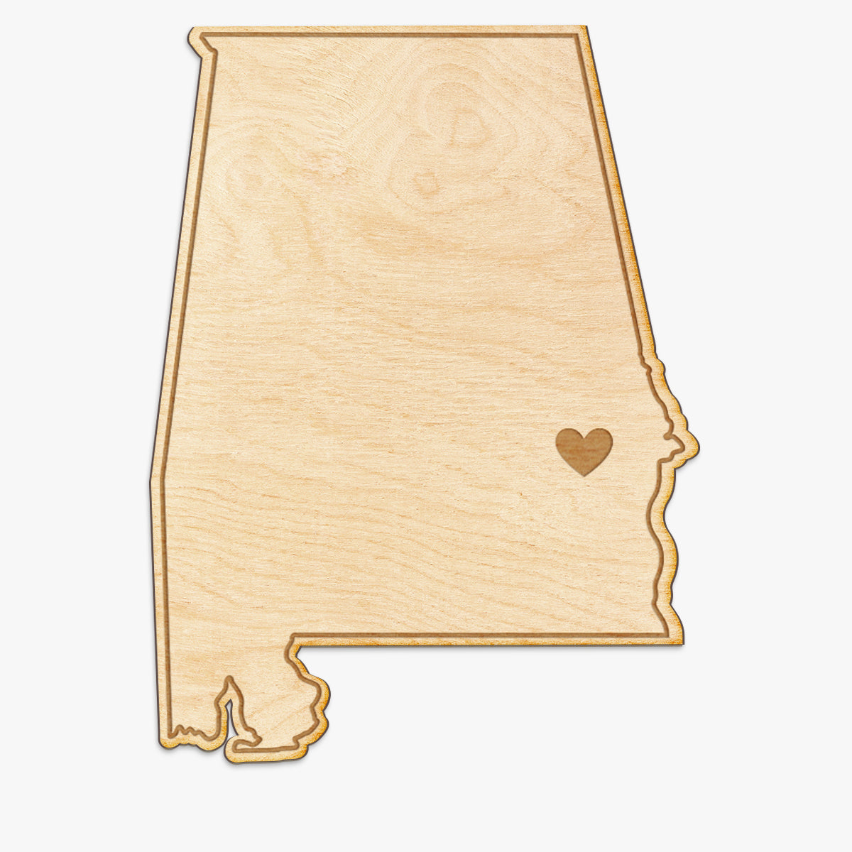 Alabama Cut Sign With Custom Engraved Heart Placement