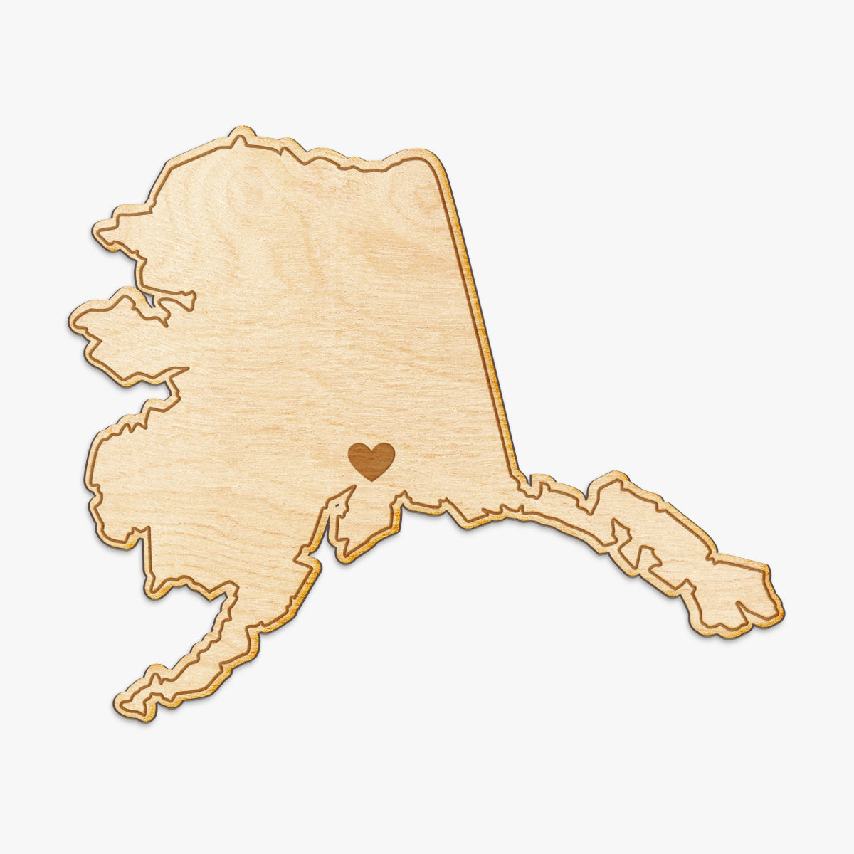 Alaska Cut Sign With Custom Engraved Heart Placement