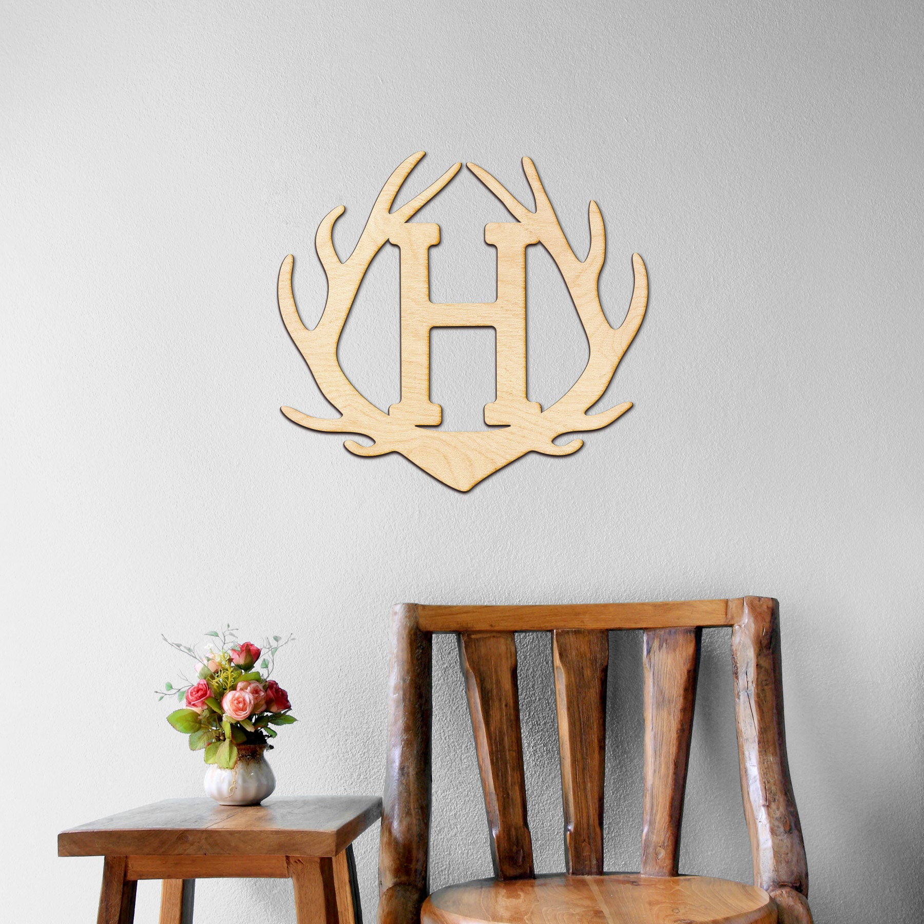 Antler Monogram Wood Cut Sign