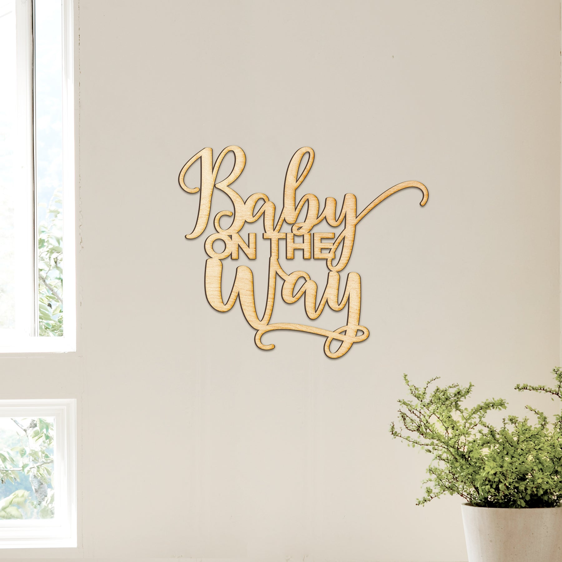 Baby on the Way Wood Sign