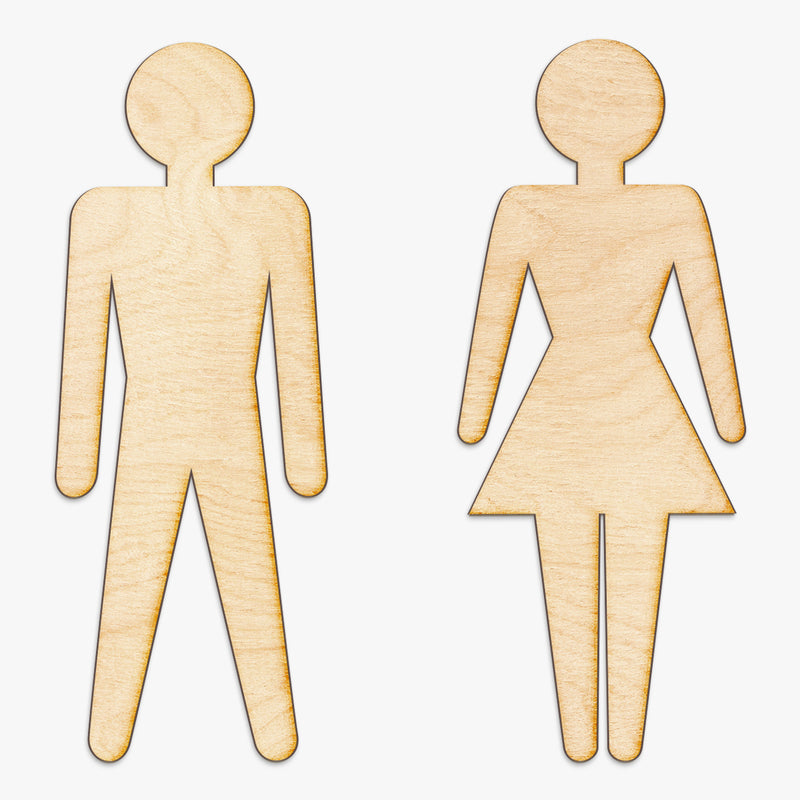 Bathroom Icons Wood Cut