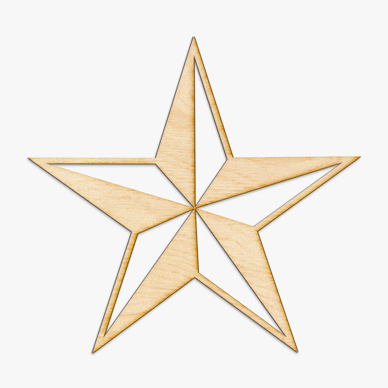 Beveled Nautical Star Wood Cut