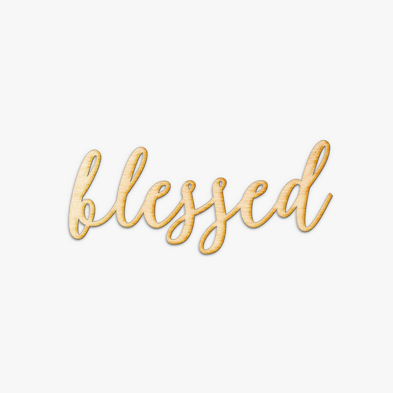 Script Blessed Wood Sign