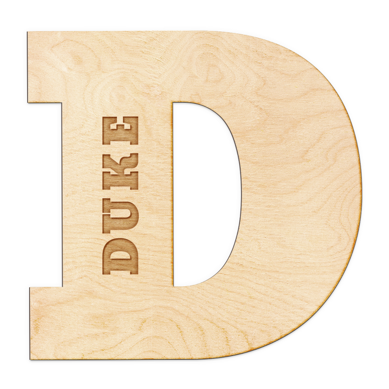 Block Letter Engraved Wood Sign