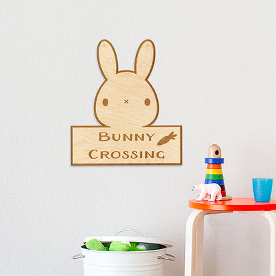 Bunny Crossing Engraved Wood Sign