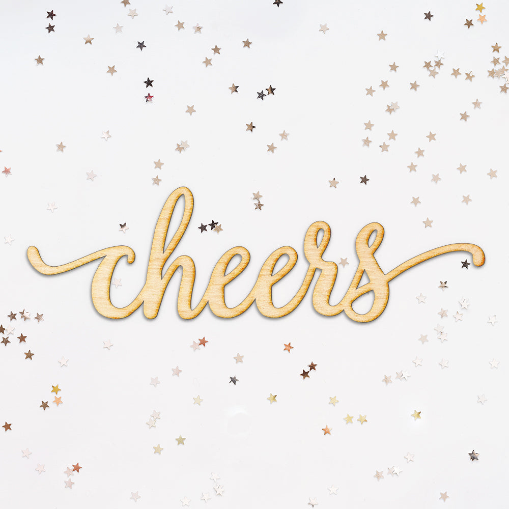Cheers Script Wood Cut Sign