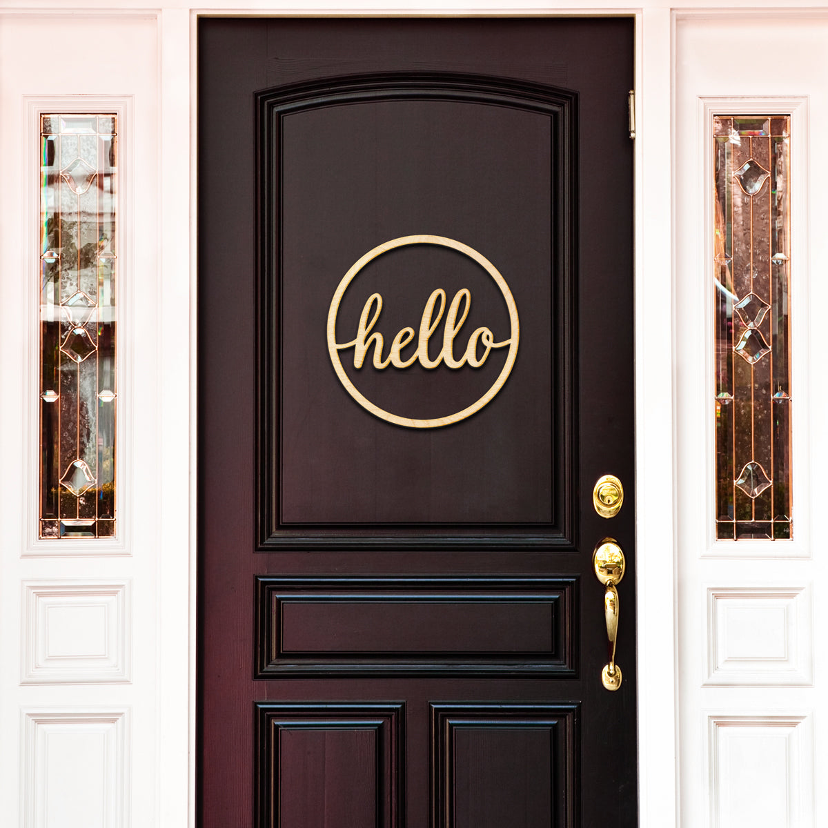 Circle Hello Script Wood Cut Sign
