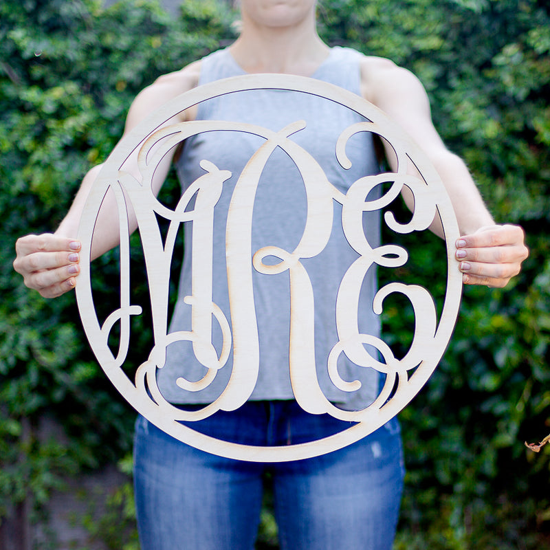 Wood Circle Vine Monogram