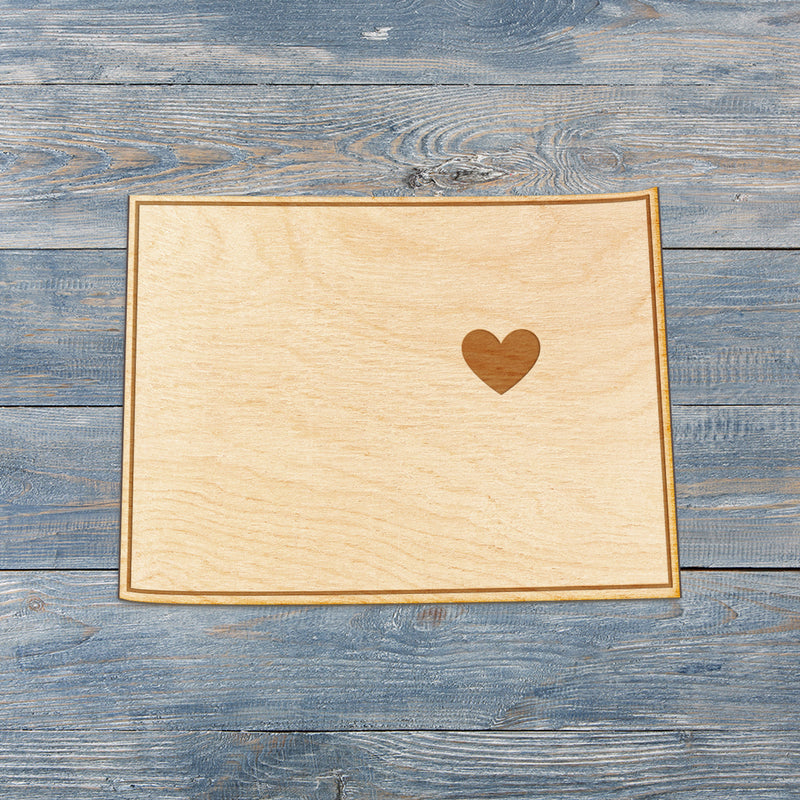 Colorado Cut Sign With Custom Engraved Heart Placement