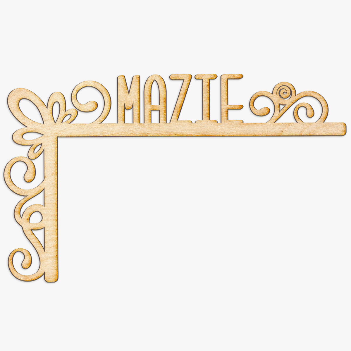 Custom Name Swirly Wood Door Topper
