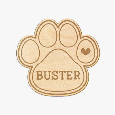 Pet Paw Custom Engraved Wood Sign